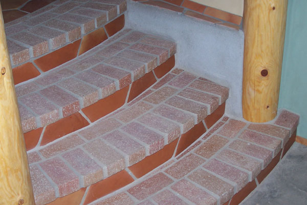 curved brick stairs