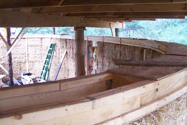 curved box beam on straw bale