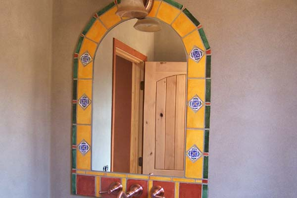 tiled border-arched mirror