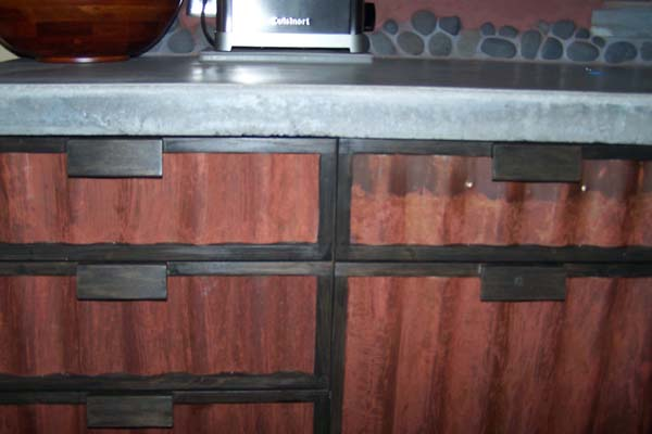 cabinet face of rusted metal