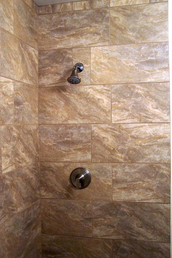 tan over sized tiles for shower stall