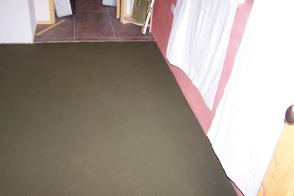 green tinted earthen floor